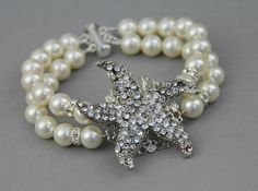 Bridal pearl bracelet Starfish wedding by LavenderByJurgita