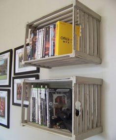 Crates as shelves Crate Shelves, Crate Storage, Modern Interior, Interior Design, King Size Mattress, New Room, Shelving, Sweet Home, New Homes