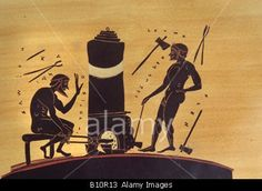 Blacksmiths working at furnace with bellows 6th c BC Greek vase painting illustration  Copyright AAA Collection