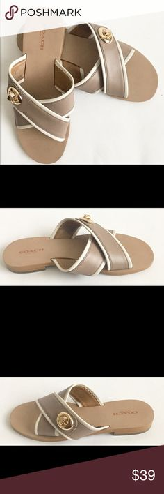 COACH Tan Open Toe Leather Slides Sandal Womens 6B Coach Tan Open Toe Leather Slides Sandal Womens 6B Eur 36 (A00371)  Color: Tan Condition: Used, worn. Material:Leather Style: Casual, Dressy Coach Shoes Slippers
