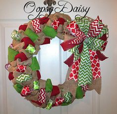 bubble burlap christmas wreath chevron by OOPSYDAISYDESIGNS