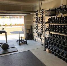 Top 75 Best Garage Gym Ideas - Home Fitness Center Designs - Home gym garage - Home Gym Garage, Home Gym Basement, Diy Home Gym, Home Gym Decor, Gym Room At Home, Best Home Gym, Crossfit Garage Gym, Basement Storage, Basement Ideas