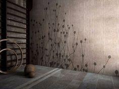 """Die """"Cicada"""" Badezimmer Tapete in schlichten Naturtönen"""