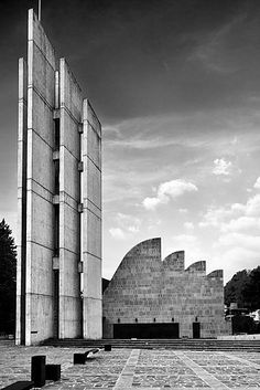 """""""Building art is a synthesis of life in materialised form"""" - ALVAR AALTO - (""""Church of the Assumption of Mary"""" in Bologna, Italy. Designed by Alvar Aalto. Photo by Roberto Conte) Concrete Architecture, Sacred Architecture, Religious Architecture, Church Architecture, Futuristic Architecture, Amazing Architecture, Contemporary Architecture, Landscape Architecture, Architecture Design"""