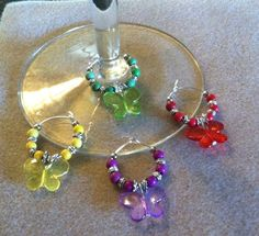 butterfly wine glass charms @ karols crafts unique set of 4 #Handmade