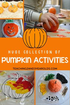 Looking for pumpkin theme activities? Here are over 90 fun activities your toddlers and preschoolers will love! #pumpkin #activities #theme #fall #autumn #math #sensory #literacy #science #finemotor #largemotor #cooking #toddler #preschool #teaching2and3yearolds Fall Preschool Activities, Toddler Preschool, Toddler Activities, Senses Activities, Preschool Halloween, Preschool Literacy, Homeschool Kindergarten, Toddler Halloween, Preschool Lessons