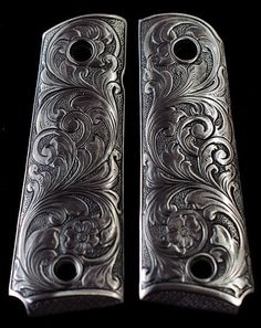 COLT 1911 CUSTOM GRIPS - SOLID PEWTER w/ SCROLL PATTERN kimber engraved HEAVY in Sporting Goods, Hunting, Gun Parts | eBay