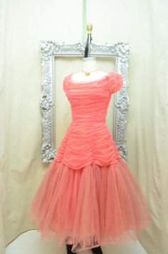 1950s coral party dress 50s mermaid dress Vintage bridesmaid Emma Domb ruched tulle Designer