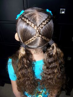 Criss cross braids Fast, before school hair do.