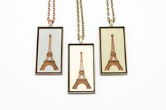 Eiffel Tower Pendant - Engraved Wooden Cameo Necklace Featuring Paris France Landmark (Custom Made / Personalized) - Gifts for Travelers