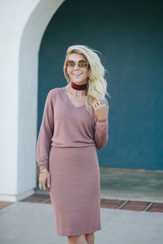 Lisa Allen of LunchPails and Lipstick wearing a sweater dress from ASOS with Alexander Wang platforms and a For Love and Lemons Choker