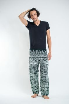 Tribal Prints Men's Harem Pants in Green