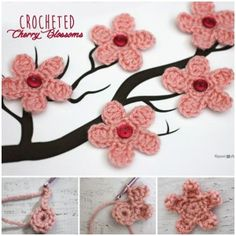 Cherry Blossom Цветочные вязание крючком freePattern-wonderfuldiy