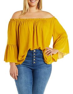 Plus Size Off-the-Shoulder Boho Top: Charlotte Russe