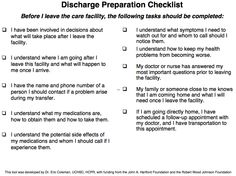Discharge preparation checklist - tasks to do before leaving the care facility.