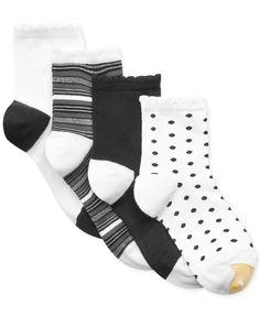 Gold Toe Women's Fashion Picot Short Crew 4 Pack Socks