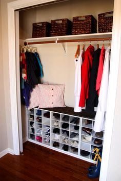 a fast and easy tutorial on creating an entry closet that has a high end built-in look without the high end cost!