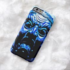 Blue Tibetan Demon Mask Airbrush Art Barely There iPhone 6 Custom Case by BOLO Designs.