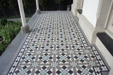 Olde English Tiles' gorgeous tessellated tiled floors can revitalise and transform a tired verandah into a spectacular, welcoming entrance to your home. Terrace House Exterior, Victorian Terrace House, Victorian Tiles, Exterior House Colors, Terrace Tiles, Patio Tiles, Entry Tile, Porch Tile, Brick Fence