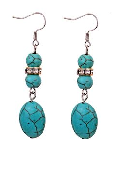 Bohemian Ethnic Tibetan Water Drop Silver Turquoise Dangle Hook Earrings. These are gorgeous with the turquoise beads and the rhinestone-circled bead. #scottsmarketplace