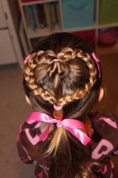 Girls Valentine Hair Style.  My mom used to do my hair like this when i was little for valentines day!