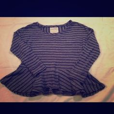 We The Free People Blue Raw Hem Striped Shirt This is a soft, light weight waffle weave peplum top by Free People.  It is in very good condition Free People Tops Blouses