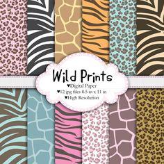 Wild Prints - Digital - Printable paper set - 12 8.5x11 files Animal print, pattern, leopard, giraffe, tiger, zebra. $4.25, via Etsy.