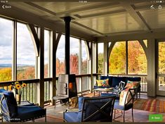 Porch wood burning stove Design Ideas, Pictures, Remodel and Decor Screened Porch Designs, Screened In Porch, Porch Swing, Living Pool, 3 Season Porch, Porch Wood, Porch Fireplace, Traditional Porch, Traditional Exterior