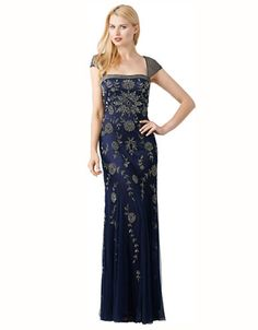 Adrianna Papell Beaded Cap Sleeve Gown | Lord and Taylor