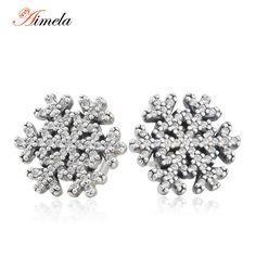 2015 Christmas Vintage Crystal Snowflake Stud Earrings For Women European Winter 925-Sterling-Silver Brincos Fine Jewelry EAR037