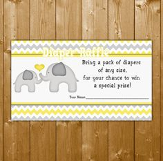 Elephant Diaper Raffle Yellow, Baby Shower Diaper Raffle Neutral Baby Shower, EL003B, Instant Download, Free Thank You Card