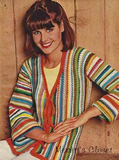 INSTANT DOWNLOAD PDF Vintage Crochet Pattern Striped Tie On Jacket, Small to Large 8-18
