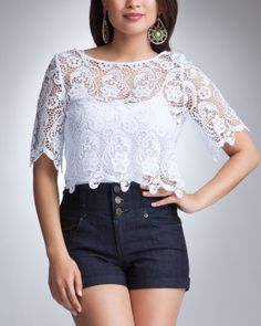 crop top outfits | Wish Upon This: Get the Look for Less: Lace Crop Top