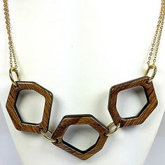 Wood Open Link Necklace Vintage Rebecca 18 inch Gold Tone Double Chain n488