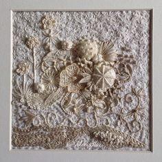 Aventures Textiles: Petite broderie sur calicot blanchi, dentelle à l'...
