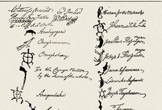 Tribal Chiefs of the Six Nations: Pictogram signatures of tribal chiefs of the Six Nation on the contract in which the Native Americans sold their land to the founders of Pennsylvania. The Iroquois Confederacy, or Six Tribes included The Mohowak, Onedia, Onondaga, Cayuga, Seneca and Tuscarora. (Photo Credit: Lebrecht Music & Arts/Corbis)
