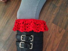 Lestat Inspired Lacy Boot Cuff     Need/Need to Know    I hook    Red Heat with Love yarn    needle to sew in ends    [ ] repeat whats insi...