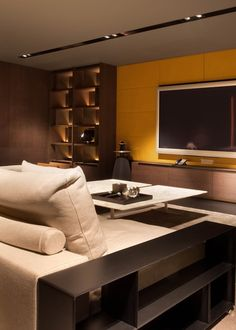 Scda grange road residence i, singapore home theater design, apartment inte Best Home Theater, Home Theater Design, Villa Luxury, Entertainment Wall Units, Sala Grande, Masculine Interior, Home And Living, Architecture, Decoration