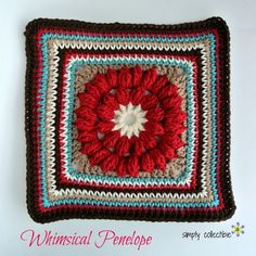"Whimsical Penelope, free 12"" crochet square pattern on Simply Collectible"