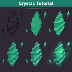 Tutorial by Anastasia-berry on DeviantArt Crystal. Tutorial by Anastasia-berry on DeviantAr Digital Painting Tutorials, Digital Art Tutorial, Art Tutorials, Digital Paintings, Drawing Tutorials, Crystal Drawing, Concept Art Tutorial, Coloring Tutorial, Art Reference Poses