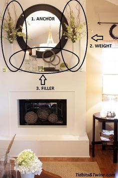 Mantel Decorations : IDEAS INSPIRATIONS :How to Decorate a Mantel---- love the idea for filling the actual fireplace too! Home Staging, Home Living Room, Decorating Tips, Decorating A Mantle, Home Projects, Family Room, House Design, Inspiration, Interior Design