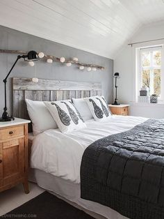 rustic chic bedroom | Rustic Cozy Chic Bedroom: pinning for the branch with lights above the ...