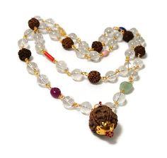 Rudraksha Sphatika or clear crystal necklace / by SunMoonJewels