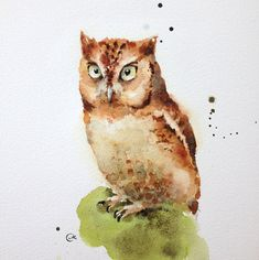 Watercolor Owl - Original Painting 7 4/5 x 7 4/5 inches