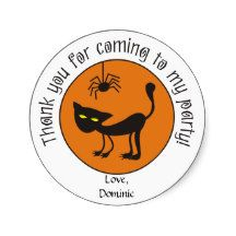 Black Cat and Spider Halloween Thank You Stickers