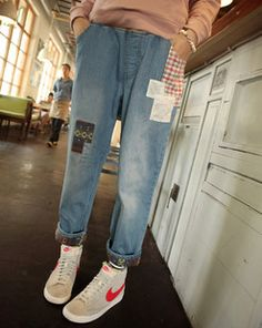 2014 spring Bohemia national trend patch applique denim ankle length trousers casual loose plus size jeans for women