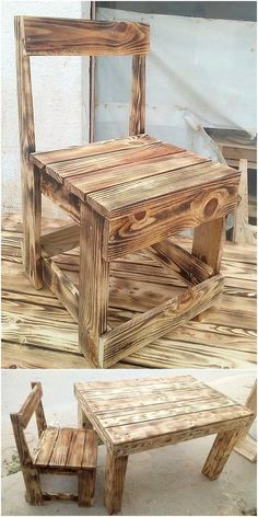 This is an interesting and yet simple table and chair design for you which you can beautifully make it place either indoor or outdoor. It is appearing to be much stand out brilliantly and in attractive way with the infusion taste of the wood pallet in it. Wooden Pallet Furniture, Wooden Pallets, Wooden Diy, Diy Furniture, Pallet Wood, Outdoor Furniture, Furniture Projects, Pallet Chairs, Wood Chairs