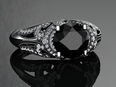 Natural Black Diamond Ring Black Gold by WinterFineJewelry / Gothic
