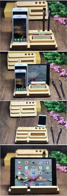A Wooden Office Desk Organizer iPad iPhone Cell Phone Stand Mount Holder Pen Pencil Holder Stand Business Card Display Stand Holder for iPhone 77 Plus6s6s Plus and other smartphones