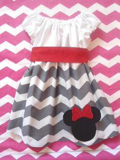 Girl Minnie Mouse Dress - Gray White Chevron Dress - Red Sash Custom Size 3 6 9 12 18 24 month 2T 3T 4T 5T 6 7 8 by littledebsdresses